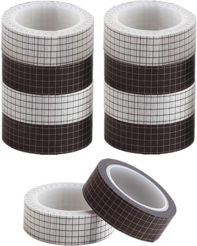 10 rollos de cinta cuadriculada blanco y negro adhesiva