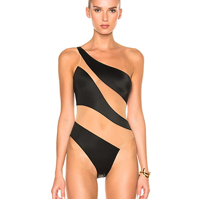 c33f21f118 Image Unavailable. Image not available for. Color: BUKJKD One Piece Swimwear  Women Mesh Swimming Suit Sexy ...