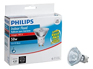 Philips 415760 Indoor Flood 50-Watt MR16 GU10 Base 120-Volt Light Bulb, 6-Pack