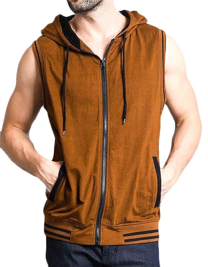 Hokny TD Mens Casual Waistcoat Hoodie Sleeveless Sweatshirt Jacket Vest