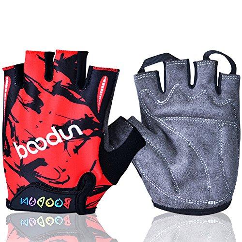 MIFULGOO BDHGF-H Boy Girl Child Children Kid Half Finger Fingerless Short Gloves for Cycling Skate Skateboard Roller Skating (Red, L) (Bike Gloves Short Finger)