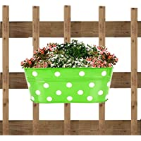 ATHENACREATIONS Dotted Oval Railing Planters | Planter Pot with Hanger | Gamla | Hanging Planter Basket for Home and Balcony(Multicolour, Pack of 5)
