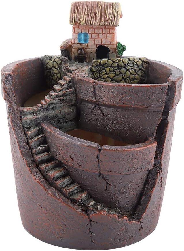Oumij Flower Pot House Design Cactus Resin Flowerpot Planter Garden Succulent Plant Pot for Home Desktop Decor for All House Plants