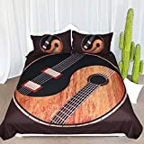 ARIGHTEX Orang and Black Acoustic Electric Guitars Duvet Cover, Yin Yang Wood Look Bedding, Dark Brown Music Themed Bedspread (Orange, King)