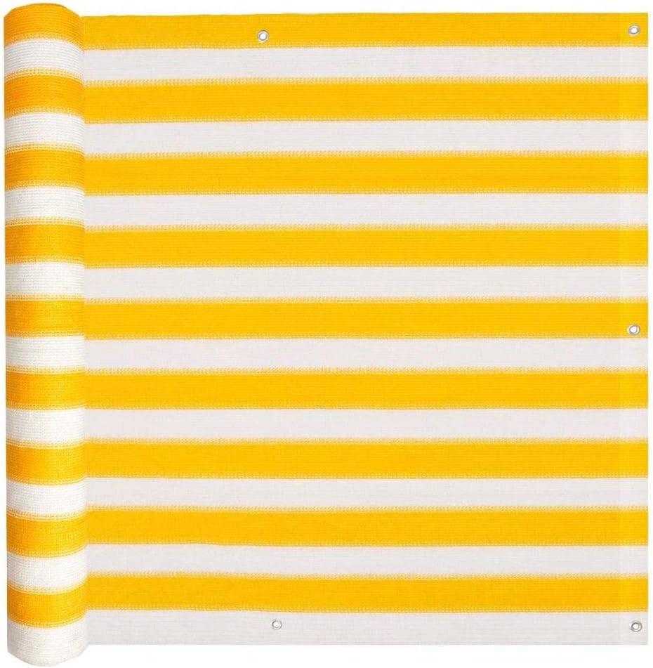 Tidyard Balcony Screen Privacy Shield Sun Screen HDPE 75x600 cm Yellow and White