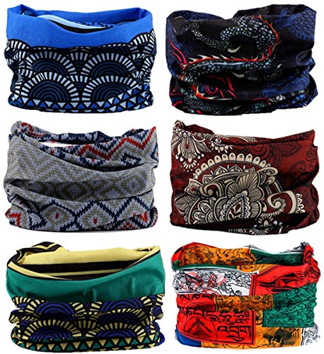 KINGREE 6PCS Outdoor Magic Scarf, High Elastic Womens and Mens Headbands with UV Resistance, Headscarves, Headwear, Mask (Ancient India)