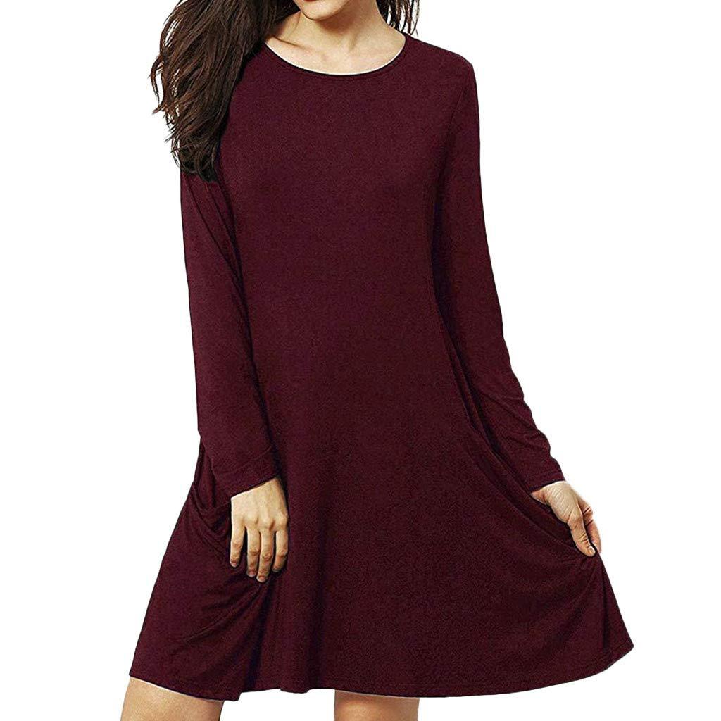 WQIANGHZI Damen Skaterkleider Freizeitkleider Rundhals mit Blusenkleider Ballkleider Festkleid Langarm Tasche Einfarbig Wickelkleider Abendkleider