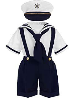 ea01ffef222fa iGirldress Baby Toddler Boys Nautical Sailor Outfit Short Suit 4 Piece Set