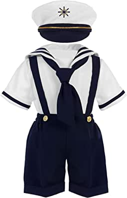 iGirlDress Baby Toddler Boys Nautical Sailor Outfit Short Suit 4 Piece Set