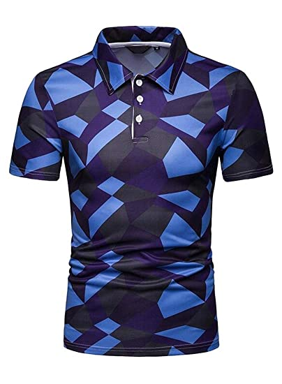 e538abae70b Domple Mens Summer Plus Size Golf Polo Shirt Geometric Print Short Sleeve T-Shirt  Tee Tops at Amazon Men s Clothing store
