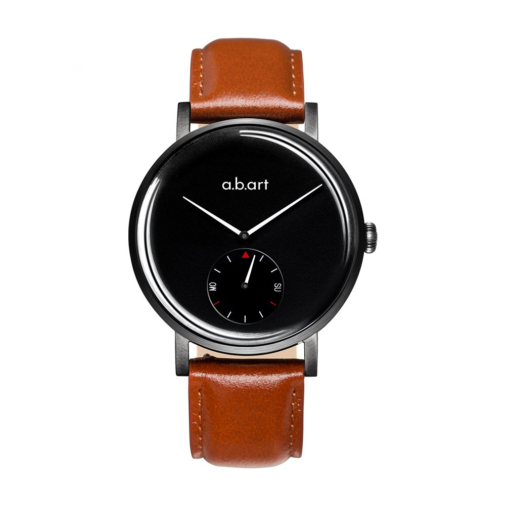 Men's Quartz Watch a.b.art ONE41-225-18L Week Display Black Dial Water Resistant Men Analog Smart Watch(Crack Oily Calf Leather-Firebrick) by a.b.art