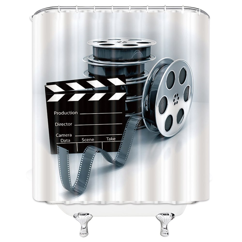 Movie Theme Shower Curtain Black Films Clap-stick White Background, 70 x 70 Inches Polyester Fabric Waterproof Mildew Resistant With 12pcs Hooks