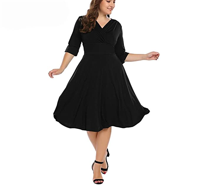 3df2616dab9 Chiffoned Oversized Party Dress 2018 New Summer Vintage Style Ruched Large  Swing Dresses Plus Size Black