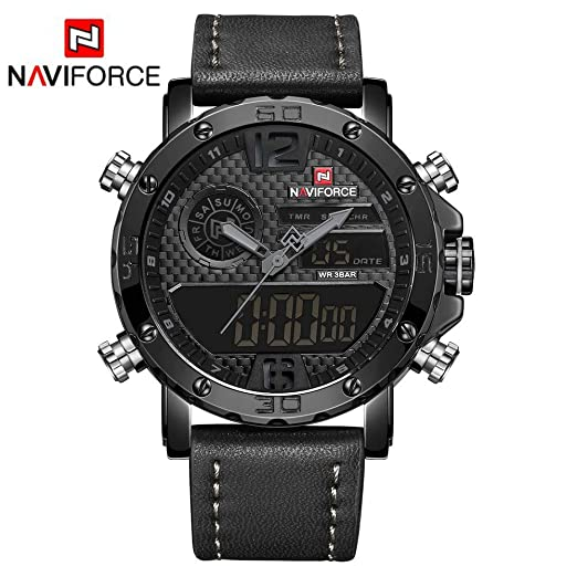 HWCOO Relojes Naviforce NF9134 Reloj para Hombres Reloj Doble Movimiento para Hombres (Color : 2