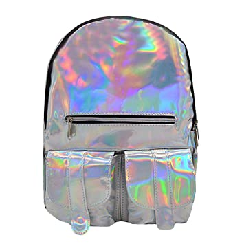 b9115f59e5 Amazon.com | Kennedy Girl's Holographic Laser Leather Backpack ...