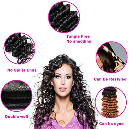 Brazilian Virgin Hair 4 Bundles with Closure Water Wave Hair Bundles with 4x4 Free Part Closure Unprocessed Virgin Human Hair (20 22 24 26 with 18, Natural Color) by Younsolo (Image #7)