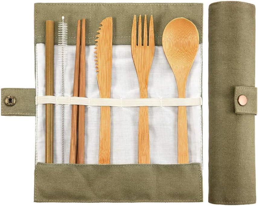 ecologiche portatili as picture show Green riutilizzabili MA87 Set di posate da viaggio in bamb/ù