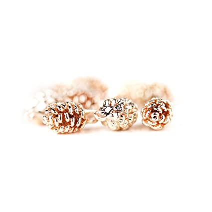 9e2a85174d5 Image Unavailable. Image not available for. Color  16K Rose Gold Plated  Pinecone Charm Dainty Pine Cone Necklace ...