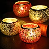 YJY LED Candle Lamps Holder Night Light,2-Pack European Style Glass Tea Light Holder,Handmade Artwork for Home Decor Christmas Wedding Party Gift 3.2''(Red_Silver)