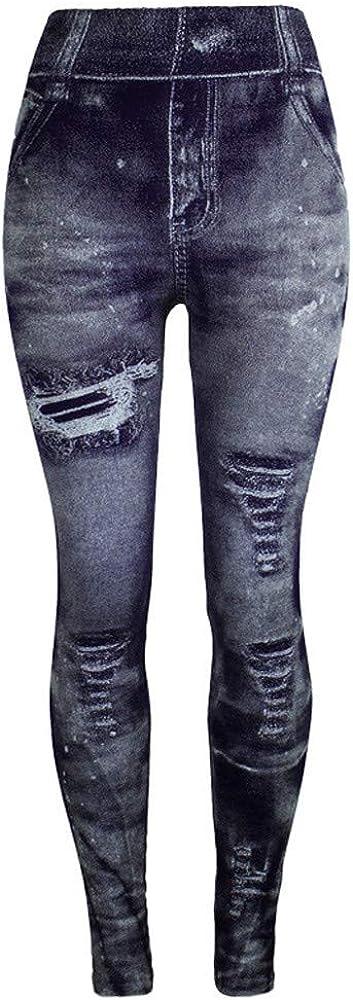 Pantalones de Jeans de Imitaci/ón SUNNSEAN de Damas y Mujeres Colores Caderas Super El/ásticos Adelgazan los Pantalones de Moda Casual para Jogging Running Deportes Fitness Yoga Leggings Deportivos