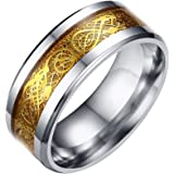 Dragon Pattern Beveled Edges Celtic Rings Band Jewelry Comfort Fit Men For Anniversary/Engagement/Wedding Band Stainless Steel Golden Color - Size 7#