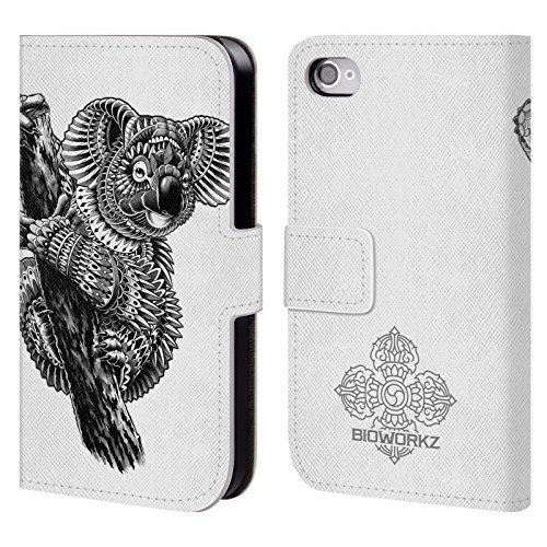official-bioworkz-ornate-koala-wildlife-leather-book-wallet-case-cover-for-apple-iphone-4-4s