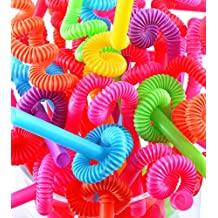 Perfect Stix Flexible , Bendy Straws Unwrapped Neon Assorted ( pack of 100)