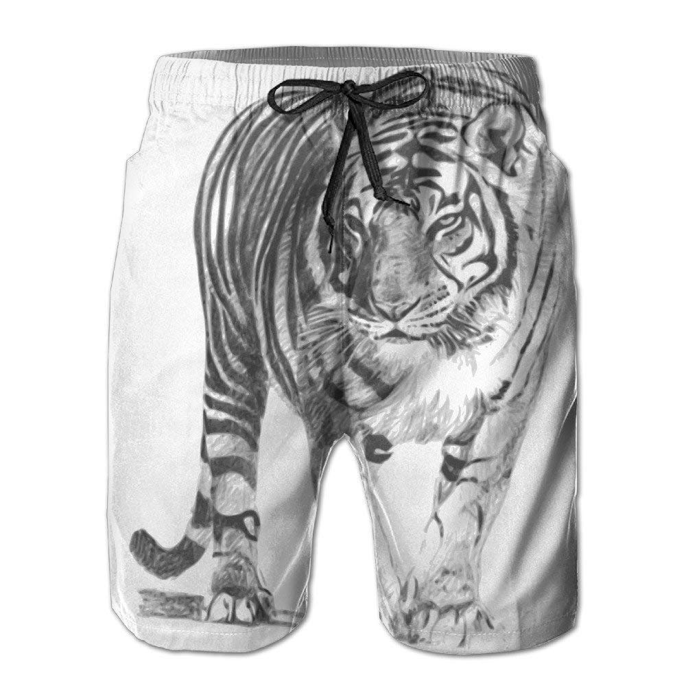 SINOVAL Mens Bengal Tiger Quick Dry Summer Beach Surfing Board Shorts Swim Pants Cargo Shorts