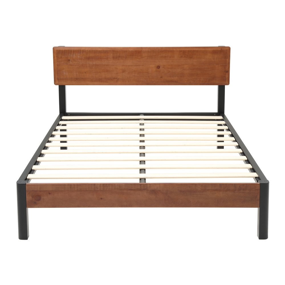classic brands decoro portland wood slat and metal platform bed frame with solid 696566107545 ebay. Black Bedroom Furniture Sets. Home Design Ideas