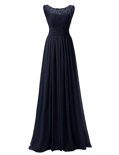 Dresstells® Long Prom Dress Scoop Bridesmaid Dress Lace Chiffon Evening Gown