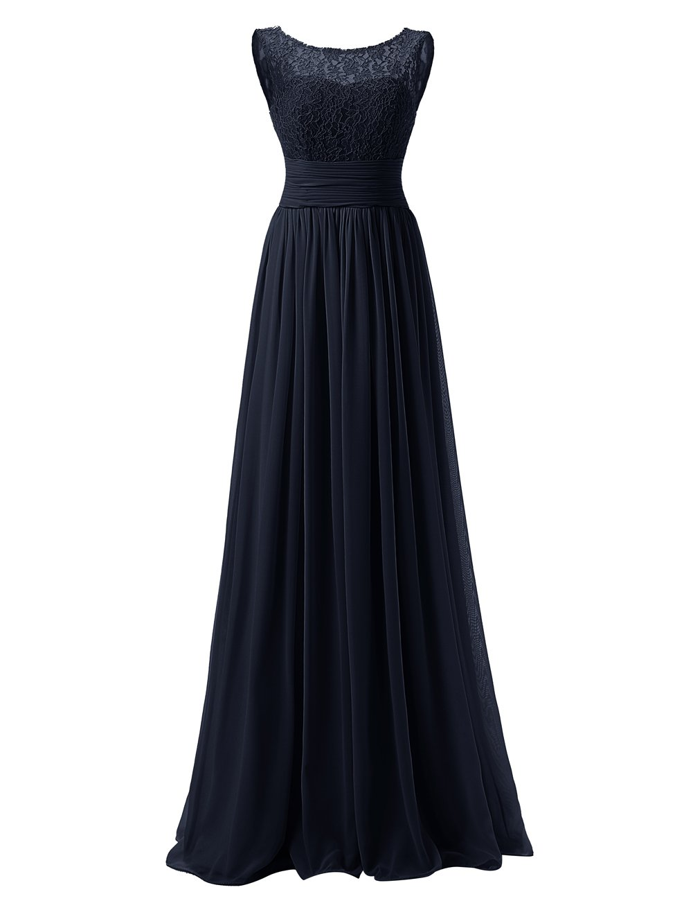 DRESSTELLS Long Prom Dress Scoop Bridesmaid Dress Lace Chiffon Evening Gown