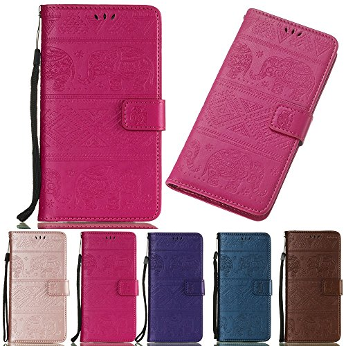 XYX Wallet Phone Case for Huawei Y9 2019,Elephant Emboss PU Leather Wallet Case with Credit Card Pockets for Huawei Y9 2019 - Rose (Best Rewards Credit Card 2019)