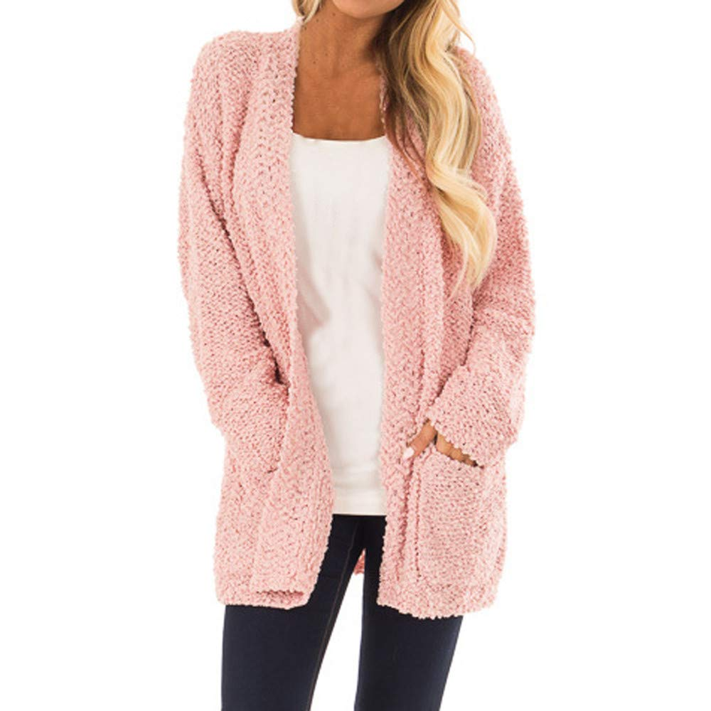 WUAI-Women Coats Winter Warm Open Front Fuzzy Parka Outwear Cardigan Coat(Pink ,Small) by WUAI-Women