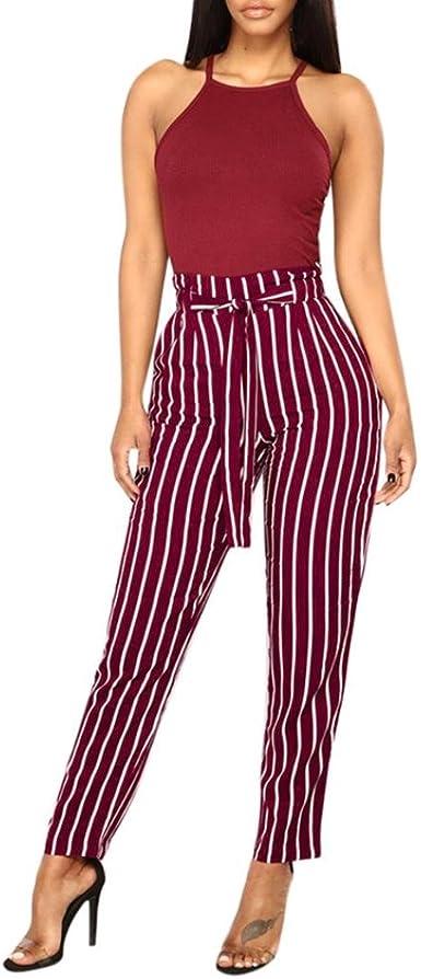 Paolian Pantalones Para Mujer Verano 2018 Casual Pantalones De Vestir Estampado Rayas Fiesta Pretina Cintura Alta Pantalones De Pinza 3 4 Suelto Pantalon Pinzas Mujer Elegante Amazon Es Ropa Y Accesorios