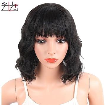 Zxlife Peluca Ondulada del Pelo Ondulado De La Peluca Negra Wig® Mujeres Europeas Y Americanas