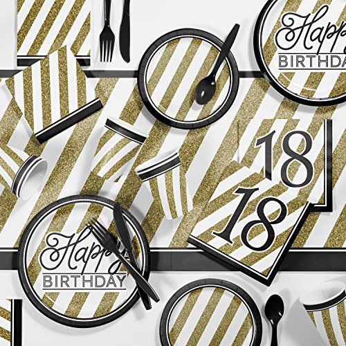 Black and Gold 18th Birthday Party Supplies Kit ()