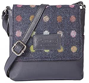 Mala Abertweed Collection British Leather Flap Over Navy Spot Cross Body Bag Purse