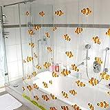 HAB & GUT© (DV044) Duschvorhang 180x180cm PVC orangene Fische, Clownfische, inkl. Kunststoffhaken