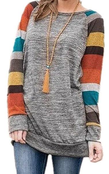 323882fbe1f9bb ZIOOER Donna Longshirt Maglia a Manica Lunga Cardigan Golfino Asimmetrico  Felpa Camicia Pullover Camicetta T-Shirt Superiore Shirts: Amazon.it: ...