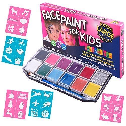 Face Paint Kit with 30 Stencils for Kids. X-Large Jumbo Palette, Sturdy Case with 12 Colors, 3 Brushes & Glitter Gel. Professional Water-Based Non-Toxic Face & Body Painting Set, Bonus (Cat Halloween Face Painting Ideas)