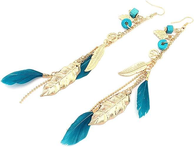Bohemian Handmade Feather Tassel Dangle Ear Hook Chain Earrings Ladies Jewelry