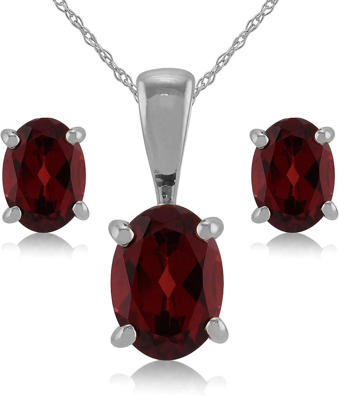 neerupam colección 92,5% Plata de Ley Natural Granate piedras preciosas colgante Set