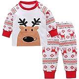 POLP Niño Unisex Dibujos Animados de Navidad Reno Bebé recién Nacido Niño Navidad Dibujos Animados Ciervos T Camisa Pantalones Ropa de Abrigo Conjuntos Pijama Traje de Fiesta pantalón 2pcs