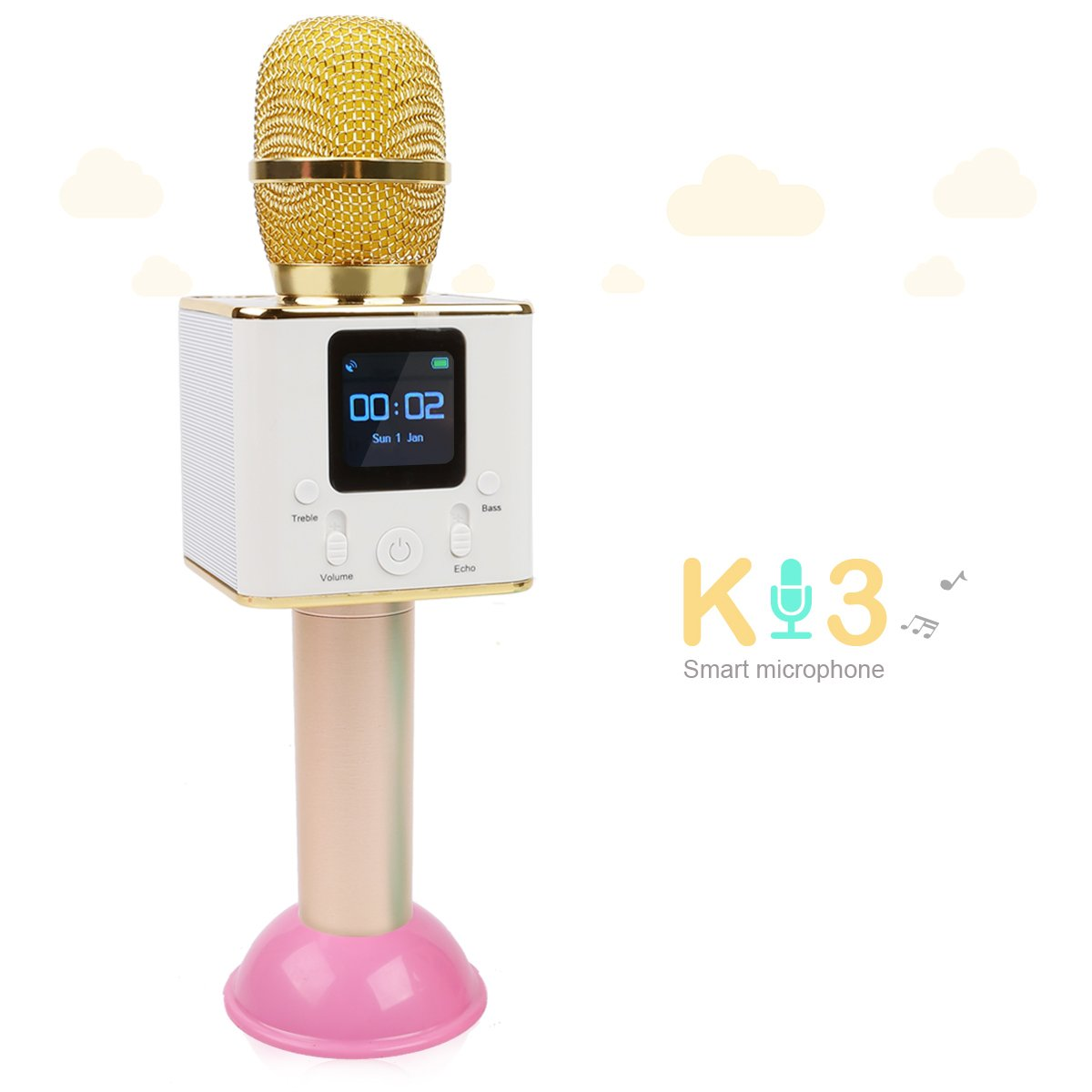 JouerNow K3 Wireless KTV Microphone, Portable Bluetooth Speaker, Home Karaoke Singing, Handheld Stereo Music Player, With LCD Touch Screen/Case/Base