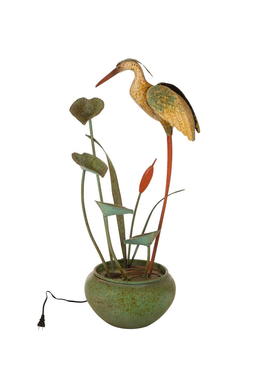 Glitzhome 37'' H Floor Standing Water Fountains - Antique Green Metal Pelican Tiered Waterfall Decorative Garden Outdoor/Indoor Tool