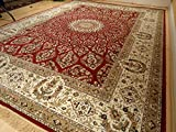 Silk Rugs Red Traditional Rugs for Living Room 8×12 Persian Tabriz 8×10 Area Rugs Clearance Red Rugs for Dining Room Washable Carpet (Red, Large 8'x12′)