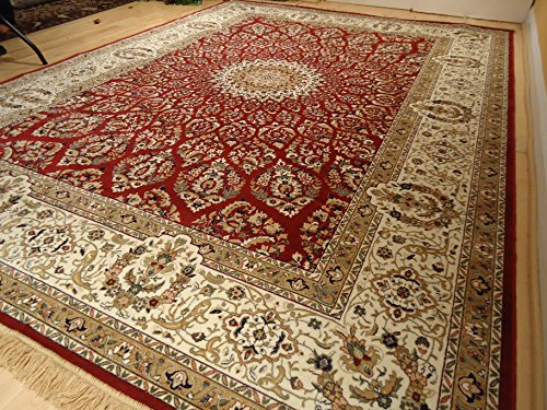 Silk Rugs Red Traditional Rugs for Living Room 8×12 Persian Tabriz 8×10 Area Rugs Clea ...