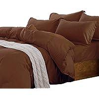 Essina Double Cover Set 3pc Candies Collection, 100% Cotton 620 Thread Count Duvet Cover Set, Pillow Sham, Dark Brown