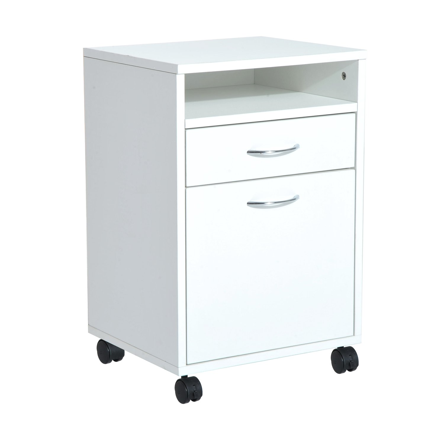 HomCom 24'' Rolling End Table Mobile Printer Cart Nightstand Organizer - White by HOMCOM
