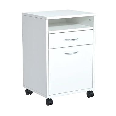 HomCom 24  Rolling End Table Mobile Printer Cart Nightstand Organizer - White